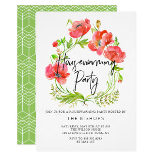 Watercolor Red Poppies Wreath Housewarming Party Card