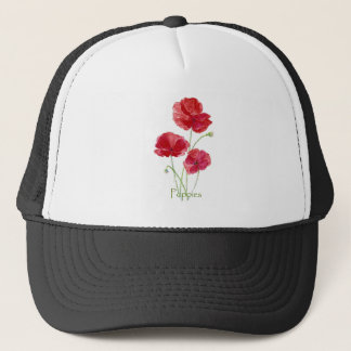 Watercolor Red Poppy Flower Floral Painting Trucker Hat