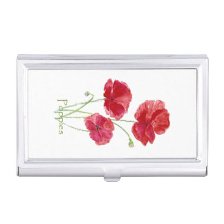 Watercolor Red Poppy Flower Pretty Floral art Business Card Holder