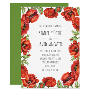Watercolor Red Poppy Flowers 2 Card
