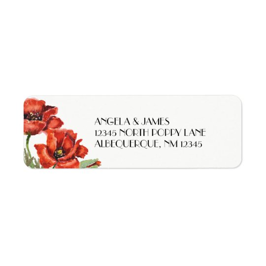 Watercolor Red Poppy Flowers Return Address Label
