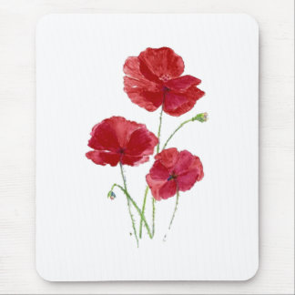 Watercolor Red Poppy Garden Flower Floral art Mouse Pad