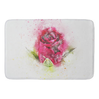 Watercolor Red Rose Bud Bath Mat