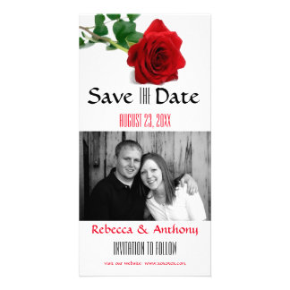 Watercolor Red Rose - Save the Date Photo Postcard Personalized Photo Card