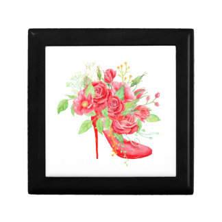 Watercolor Red Rose Shoe Gift Box