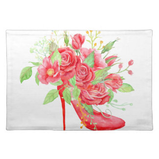 Watercolor Red Rose Shoe Placemat