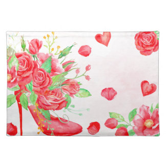 Watercolor Red Rose Shoe Valentine Placemat
