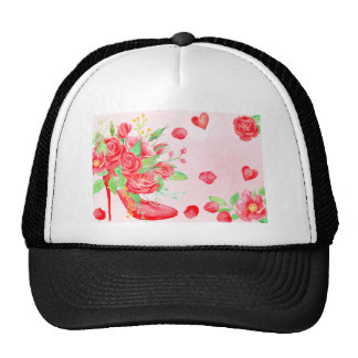 Watercolor Red Rose Shoe Valentine Trucker Hat