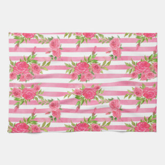 Watercolor Red Roses Kitchen Towel