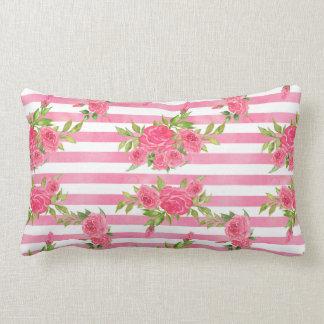 Watercolor Red Roses Lumbar Pillow