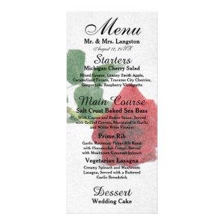 Watercolor Red Roses - Reception Menu Rack Cards