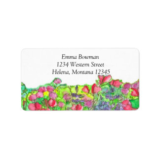 Watercolor Red Sweet Pea Flowers Label