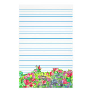 Watercolor Red Sweet Peas Blue Lined Stationery