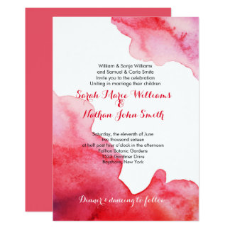 Watercolor red Wedding Invitation