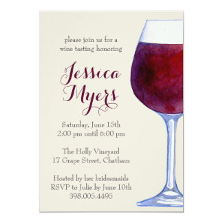 Watercolor Red Wine Party Invitation