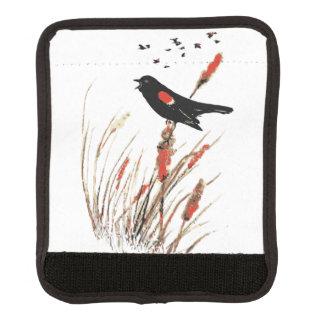 Watercolor Red Wing Blackbird Bird Nature art Luggage Handle Wrap