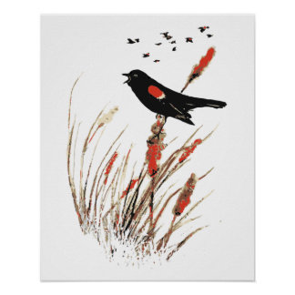 Watercolor Red Wing Blackbird Bird Nature art Poster