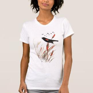 Watercolor Red Wing Blackbird Bird Nature art T-Shirt