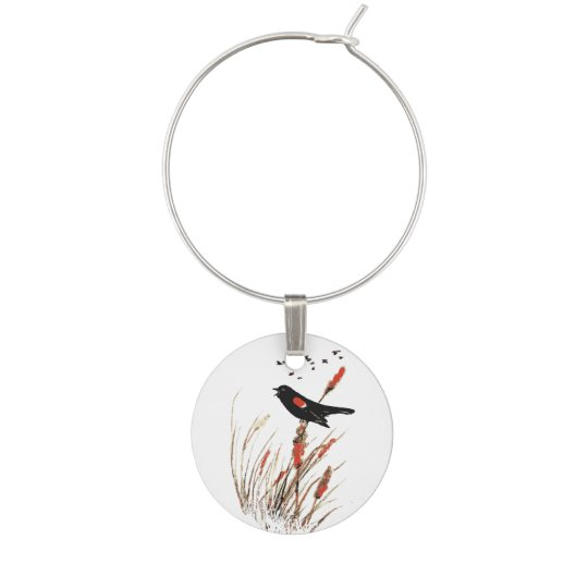 Watercolor Red Wing Blackbird Bird Nature art Wine Glass Charm