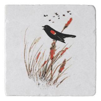 Watercolor Red-Wing Blackbird Marsh Bird Art Trivet