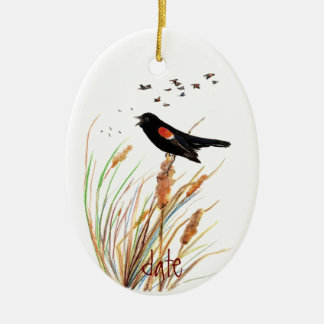 Watercolor Red-Winged Blackbird - Bird Collection Ceramic Oval Ornament