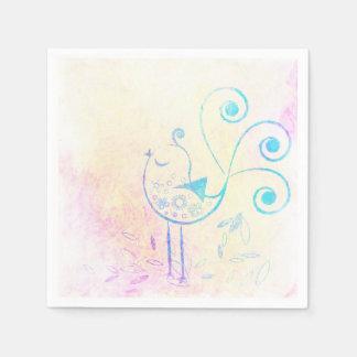 Watercolor Retro Bird Paper Napkin
