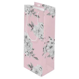 Watercolor retro classic floral design, roses flow wine gift bag