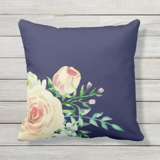 Watercolor retro classic floral design, roses throw pillow