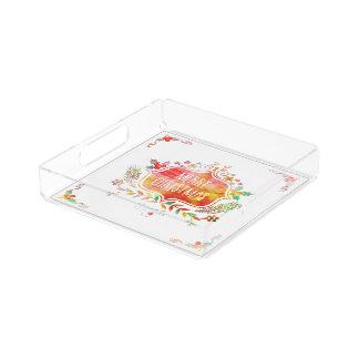 Watercolor Retro Merry Christmas Acrylic Tray