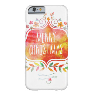 Watercolor Retro Merry Christmas Barely There iPhone 6 Case