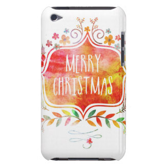 Watercolor Retro Merry Christmas Barely There iPod Covers