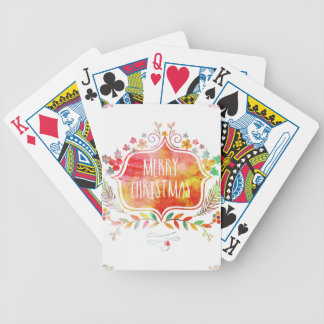 Watercolor Retro Merry Christmas Bicycle Playing Cards