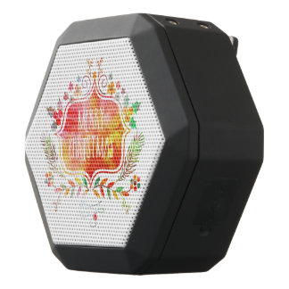Watercolor Retro Merry Christmas Black Bluetooth Speaker
