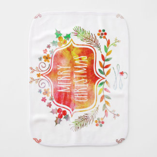Watercolor Retro Merry Christmas Burp Cloth