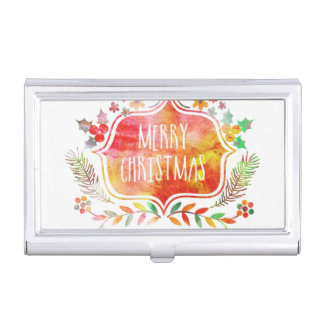Watercolor Retro Merry Christmas Business Card Holder