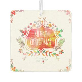 Watercolor Retro Merry Christmas Car Air Freshener