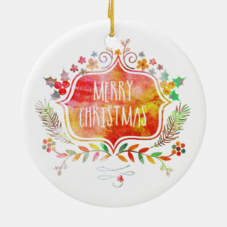 Watercolor Retro Merry Christmas Ceramic Ornament