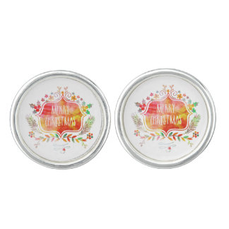Watercolor Retro Merry Christmas Cuff Links