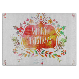 Watercolor Retro Merry Christmas Cutting Board