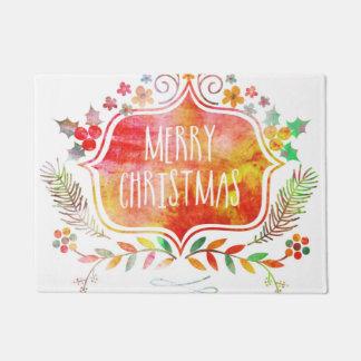 Watercolor Retro Merry Christmas Doormat