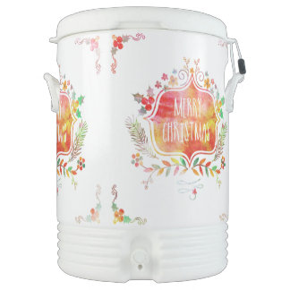 Watercolor Retro Merry Christmas Drinks Cooler