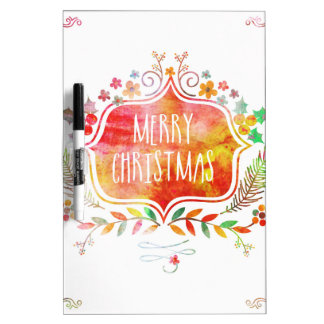 Watercolor Retro Merry Christmas Dry Erase Board