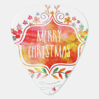 Watercolor Retro Merry Christmas Guitar Pick