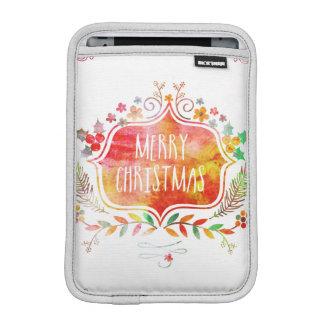 Watercolor Retro Merry Christmas iPad Mini Sleeve