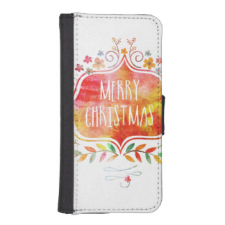 Watercolor Retro Merry Christmas iPhone SE/5/5s Wallet Case