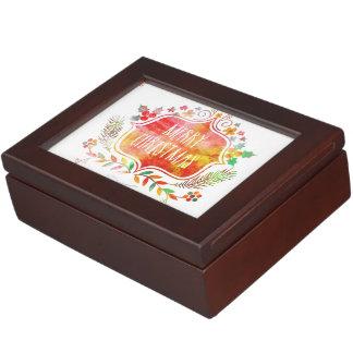 Watercolor Retro Merry Christmas Keepsake Box