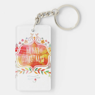Watercolor Retro Merry Christmas Keychain