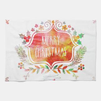 Watercolor Retro Merry Christmas Kitchen Towel