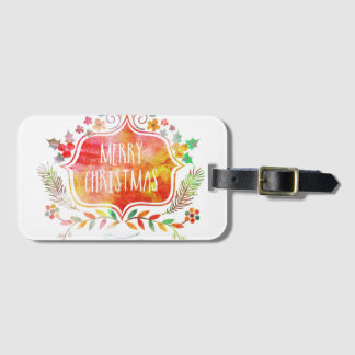 Watercolor Retro Merry Christmas Luggage Tag