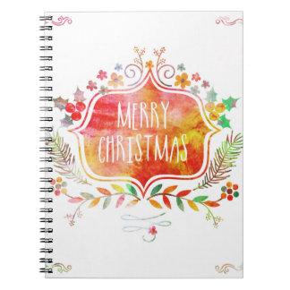 Watercolor Retro Merry Christmas Notebook